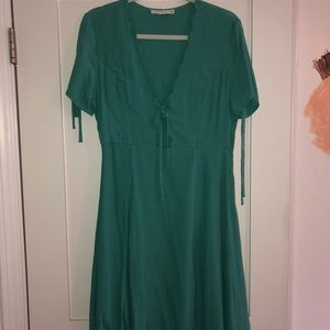 Blueish Green Front Cut Out Dress